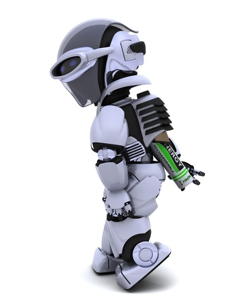 3D render of a Robot with Batteries Stock Photo - 8780904