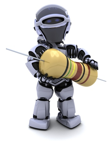 3D Render of a Robot with a resistor Stock Photo - 8780914