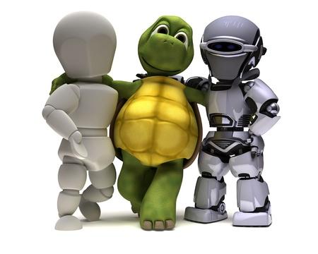 tortuga: Render 3D del hombre en el medio ambiente y tecnolog�a vienen juntos