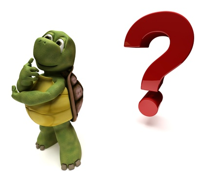 carapace: 3D render of a Tortoise Caricature thinking by a question mark Stock Photo