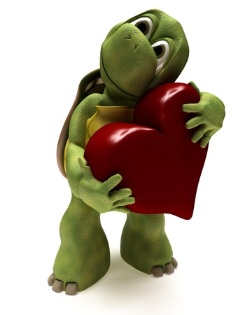 turtles love: 3D render of a Tortoise Caricature hugging a heart Stock Photo