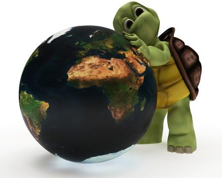 tortuga: 3D procesar una caricatura de tortuga abrazando la tierra Foto de archivo