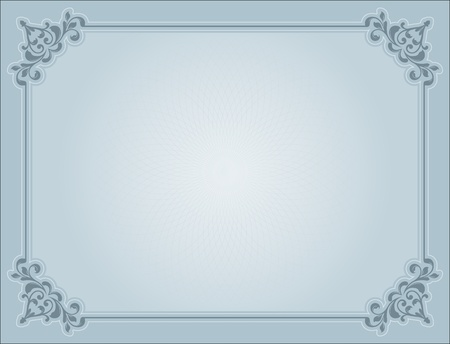 diploma border: Decorative certificate background in shades of blue