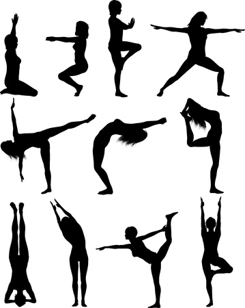 pilates: Silhouette of females in various yoga poses
