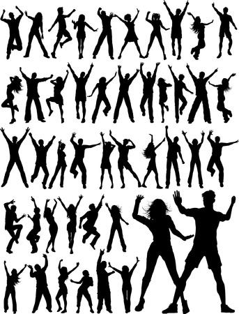 meisje silhouet: Enorme collectie van silhouetten van mensen dansen Stock Illustratie