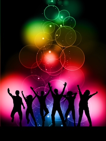 Silhouettes of people dancing on a colourful bokeh lights background