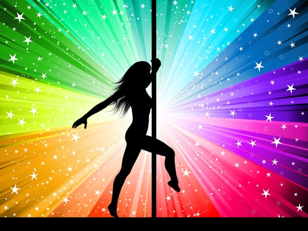 Silhouette of a sexy pole dancer on a starburst background Stock Vector - 8847345