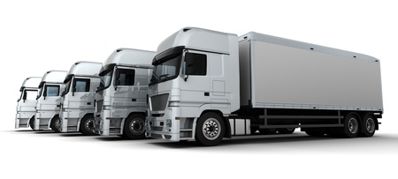 lorry: 3D Render of a Fleet of Delivery Vehicles Stock Photo