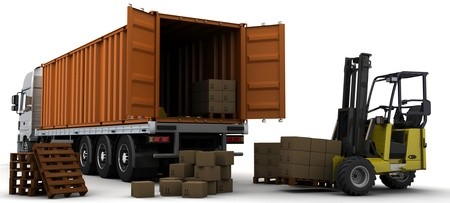 3D Render of a freight container Delivery Vehicle photo
