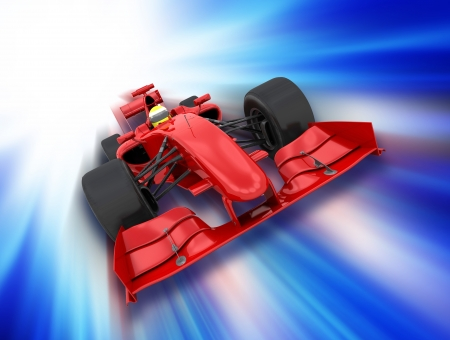one to one: 3D render of a formula one car on a motion background