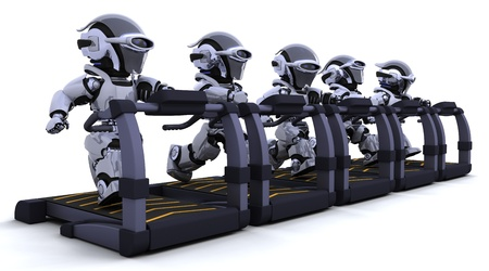 3D render of robots on treadmills Stock Photo - 8907183