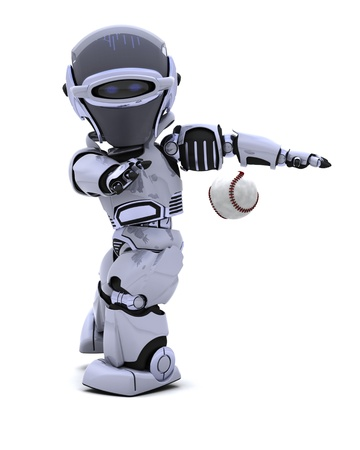 3D render of a Robot playing baseball Stock Photo - 8907145