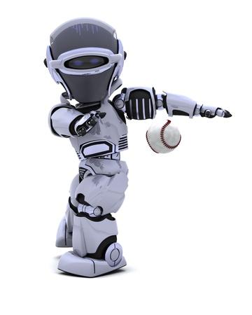 chrome base: 3D rendering di un Robot giocare a baseball