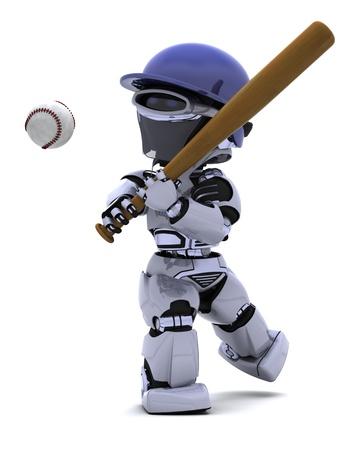 3D render of a Robot playing baseball photo