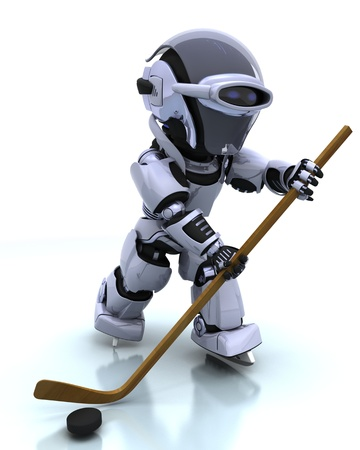 3D render of a Robot playing icehockey Stock Photo - 8907154