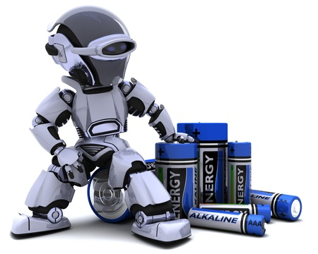 electric cell: 3D render of a Robot with Batteries Stock Photo