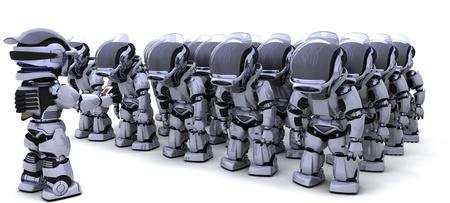 3D render of a Robot shutting down an army of Robots