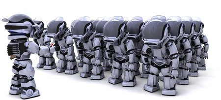 3D render of a Robot shutting down an army of Robots photo