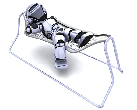 3D Render of a Robot Lying in a Hammock Stock Photo - 8907149