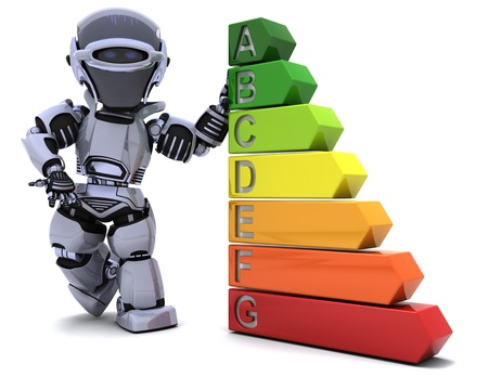 3D Render of a Robot with energy ratings sign Stock Photo - 8907155