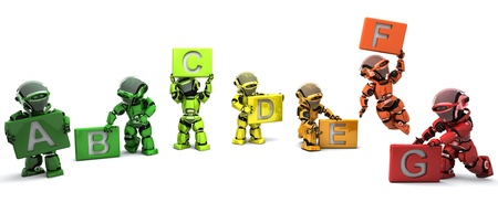 3D Render of a Robots with energy ratings signs Stock Photo - 8907151