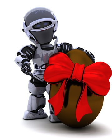 3D Render of a Robot with an easter egg Stock Photo - 8907158