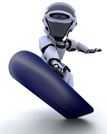 3D render of a Robot with snowboard Stock Photo - 8981461