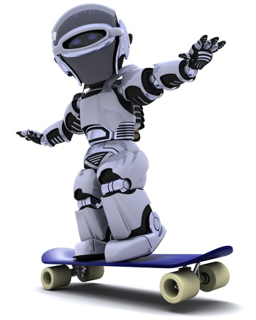 3D render of a Robot with skateboard