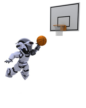 3D render of a Robot playing basketball photo