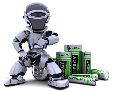 nimh: 3D render of a Robot with Batteries Stock Photo