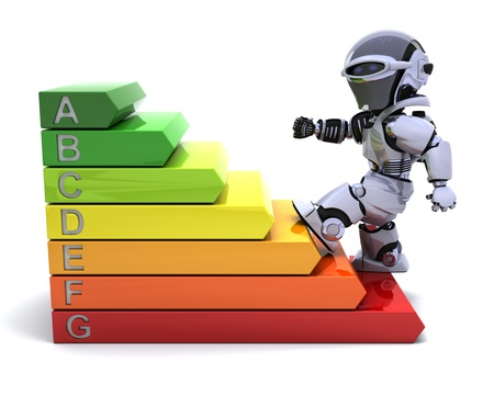 3D Render of a Robot with energy ratings sign Stock Photo