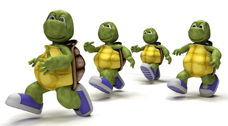 3D Render of a Tortoises running in sneakers  Stock Photo - 8981485