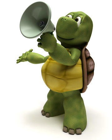 introducing: 3D Render of a Tortoise shouting in a bull horn