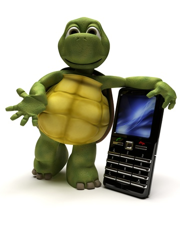 animal cell: 3D Render of a Tortoise with a cell phone