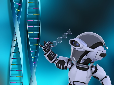 3D render of a robot examining DNA strands