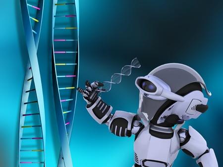 3D render of a robot examining DNA strands  photo