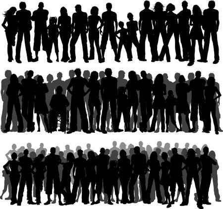 personas: Siluetas de tres diferentes multitudes de personas