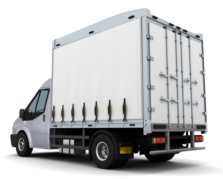 3D Render of a curtain side van photo
