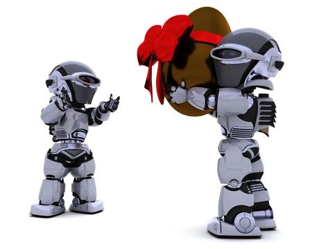 3D Render of a robot giving an easter egg Stock Photo - 9083629