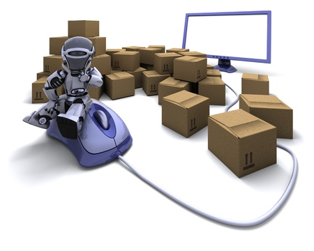 3D render of Robot with Shipping Boxes Stock Photo - 9083631