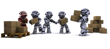 3D render of Robot with Shipping Boxes Stock Photo - 9083634