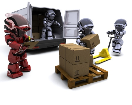 3D render of Robot with Shipping Boxes loading a van Stock Photo - 9083655