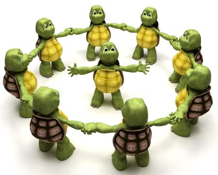 tortoise: 3D Render of a Tortoise leading a team