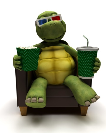 carapace: 3D Render of a Tortoise relexing in armchair drinking a soda watching a 3D movie