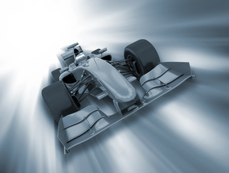 formule: 3D render of a formula racing car on a motion background