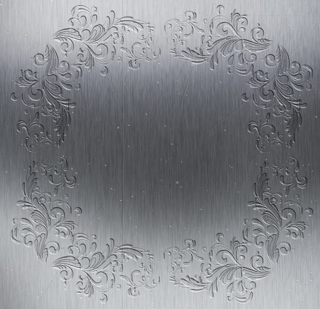 Metal texture background with decorative border embossed into it photo