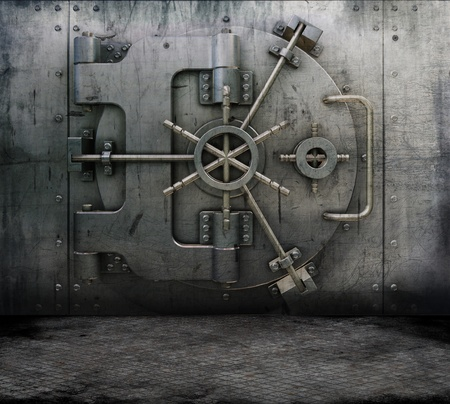 Grunge style image of a room interior with a bank vault photo