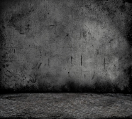 abandoned building: Grunge style image of a room interior with concrete wall and metal floor