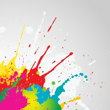 Grunge background with colourful paint splats photo