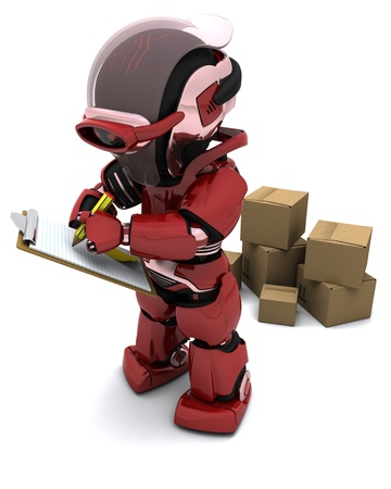 3D render of Robot with Shipping Boxes Stock Photo - 9226658